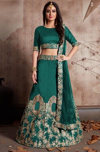 Indian Dress Green Color Bridal Lehenga 528