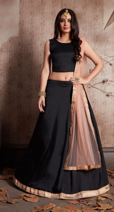 Indian Dress Black Gold Color Bridal Lehenga 520