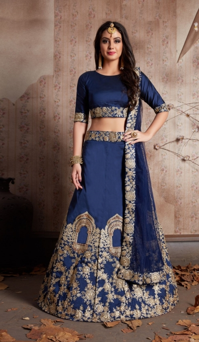 Indian Dress Blue Color Bridal Lehenga 530