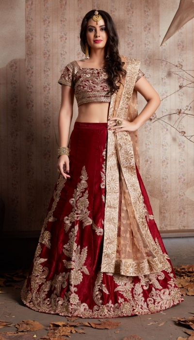 Indian Dress Maroon Color Bridal Lehenga 604