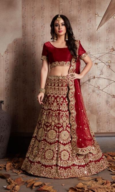 Indian Dress Maroon Color Bridal Lehenga 609