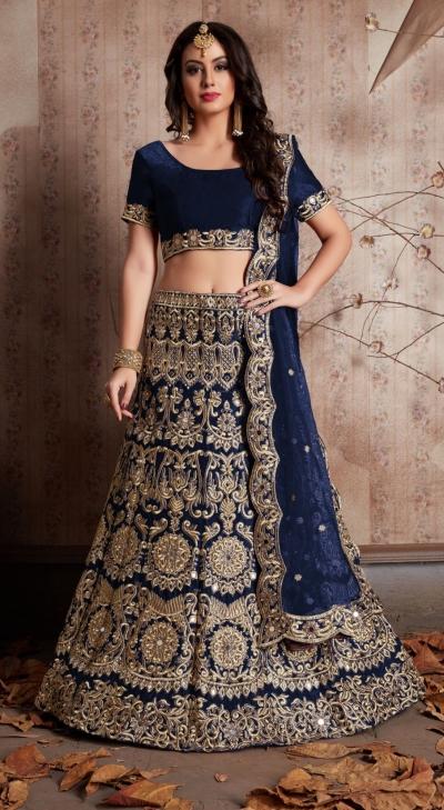 Indian Dress Blue Color Bridal Lehenga 610