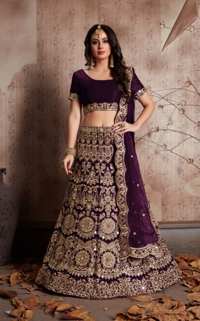 Indian Dress Purple Color Bridal Lehenga 611
