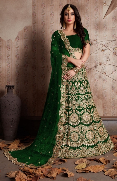 Indian Dress Green Color Bridal Lehenga 612