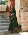 Bollywood Prachi Desai Green and Pink silk designer party wear saree