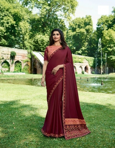 Bollywood Prachi Desai Maroon silk designer party wear saree