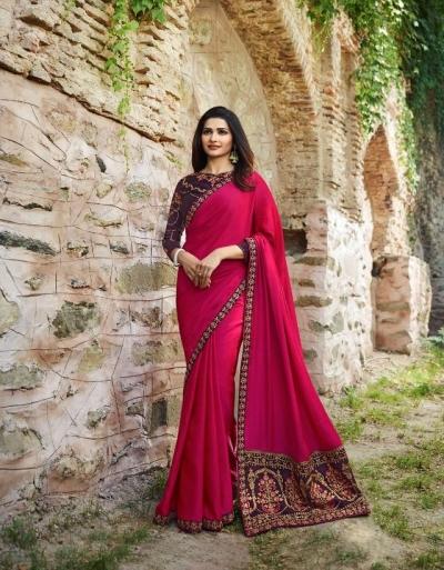 f49ebd7127 Buy Bollywood Prachi Desai Rani color silk designer party wear saree ...