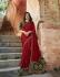 Bollywood Prachi Desai Red and green silk designer party wear saree