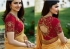 Bollywood Prachi Desai Gold and red color silk designer party wear saree