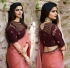 Bollywood Prachi Desai Peach silk designer party wear saree