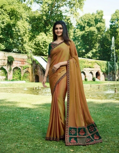 Bollywood Prachi Desai Mustard color silk designer party wear saree