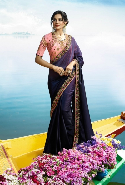 Purple Color Barfi silk designer party wear saree