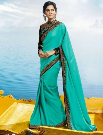 Turquoise Color Barfi silk designer party wear saree