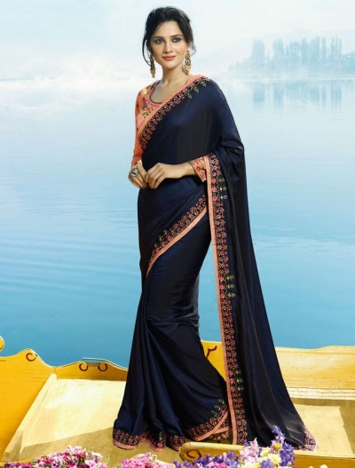 Navy blue and pinl Color Barfi silk designer party wear saree