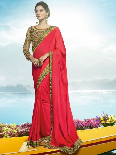 Pink Color Barfi silk designer party wear saree