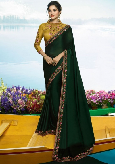 Dark green Color Barfi silk designer party wear saree
