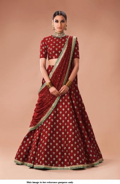 Bollywood Sabyasachi Inspired Maroon art silk Wedding Lehenga