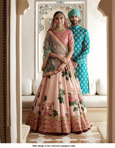 Bollywood Sabyasachi Inspired Peach banglori silk Lehenga choli