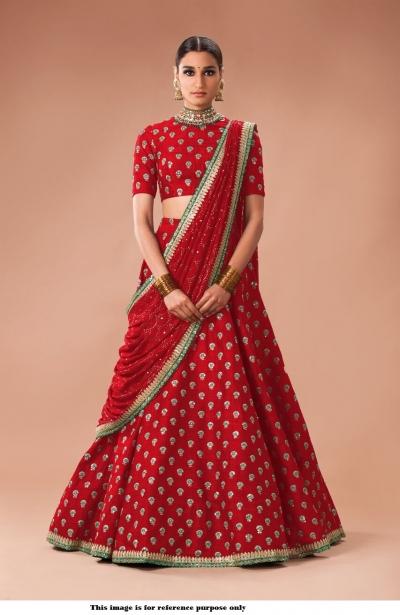 d5549bb4a Buy Bollywood Sabyasachi Inspired red art silk Wedding Lehenga ...