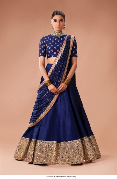 Bollywood Sabyasachi Inspired Navy blue art silk Wedding Lehenga