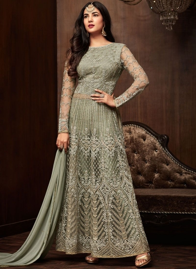 Bollywood Sonal Chauhan Green net wedding anarkali