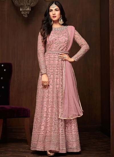 Bollywood Sonal Chauhan Pink net wedding anarkali