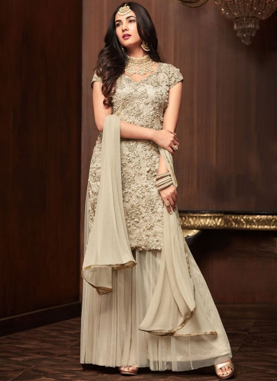 Bollywood Sonal Chauhan Off white net wedding Palazzo kameez