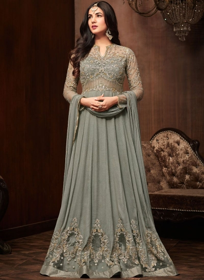 Bollywood Sonal Chauhan grey crepe wedding anarkali