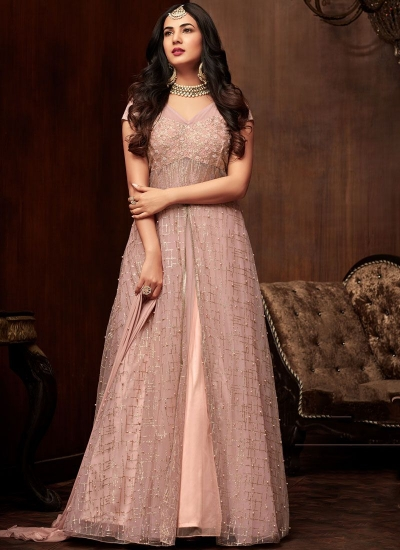 Sonal chauhan Light pink net Indian wedding anarkali