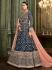 Navy Blue Silk Floor Length Indian wedding Anarkali Suit 32002