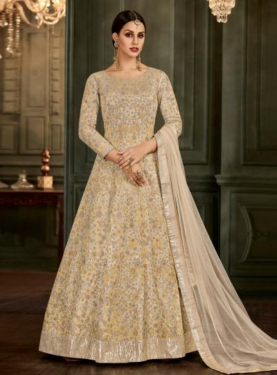 Off White Silk Floor Length Indian wedding Anarkali Suit 32004
