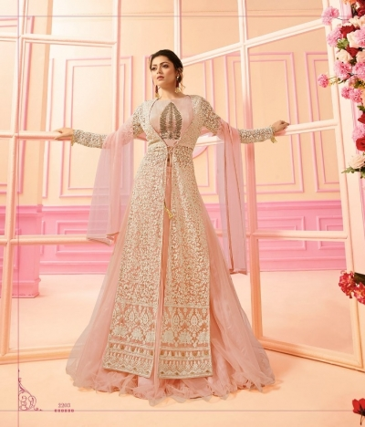 Drashti Dhami Peach net Indian wedding Ghagra 2203