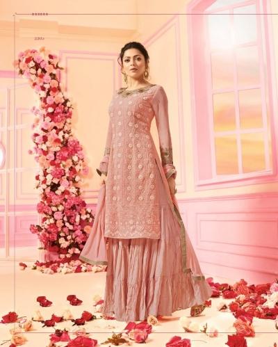 Drashti Dhami Pink georgette wedding Sharara 2205