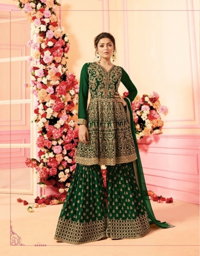 Drashti Dhami Green georgette wedding Sharara 2206