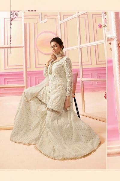 Drashti Dhami White georgette wedding Sharara 2207