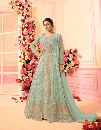 Drashti Dhami sea blue net jacket style wedding anarkali 2209