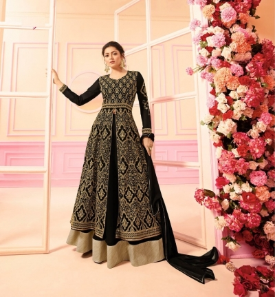 Drashti Dhami Black georgette Indian wedding Ghagra 2210