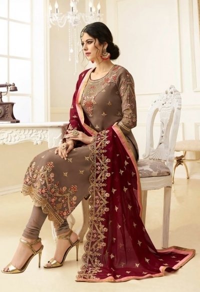 Beige georgette Indian wedding straight cut churidar 10003