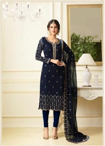 Blue georgette Indian wedding straight cut churidar 10004
