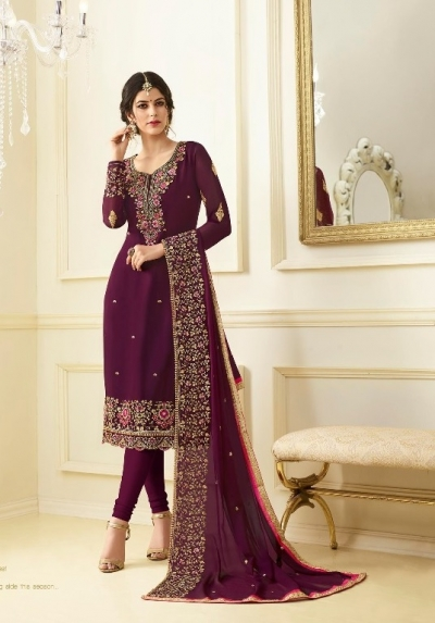Magenta georgette Indian wedding straight cut churidar 10005