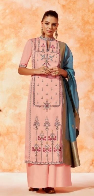 Baby pink dola silk Indian Palazzo salwar kameez K11