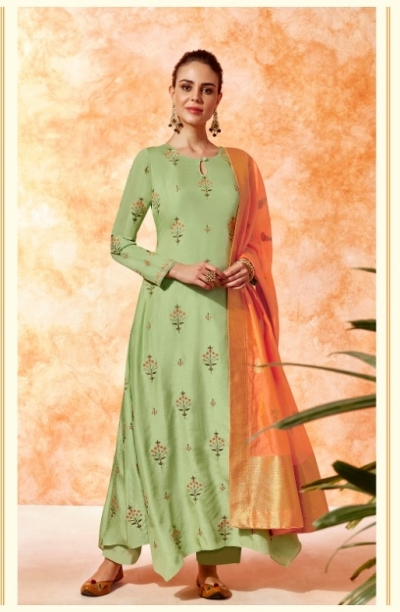 Mint green dola silk Indian Palazzo salwar kameez K14