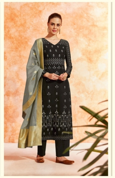 Black dola silk Indian Palazzo salwar kameez K16