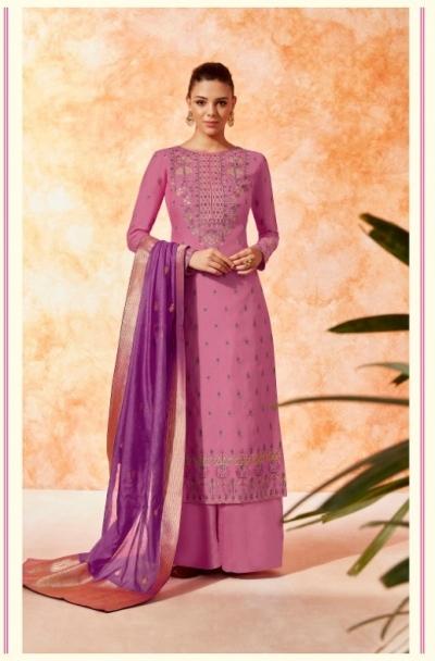 Pink dola silk Indian Palazzo salwar kameez K19