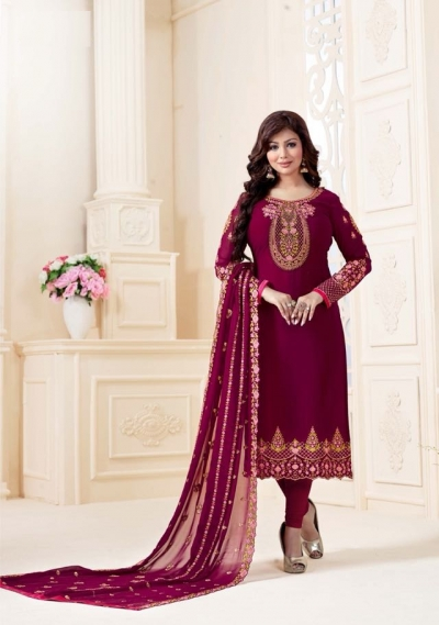 Ayesha Takia Purple straight cut Indian churidar suit 32004