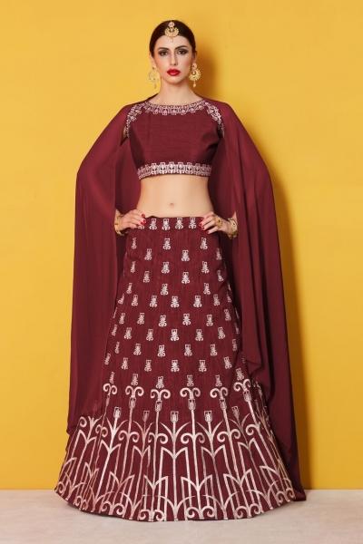 Maroon art silk Indian wedding wear lehenga choli 511