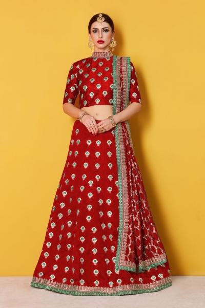 Red Art Silk Indian wedding wear lehenga choli 606
