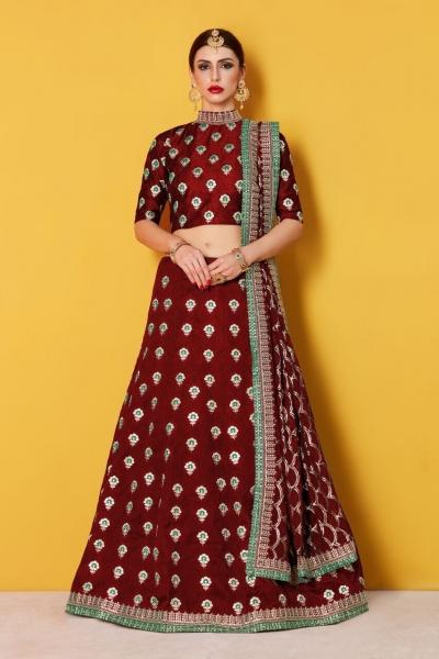 Maroon Art Silk Indian wedding wear lehenga choli 607
