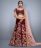 Maroon velvet Silk Indian wedding wear lehenga choli 745