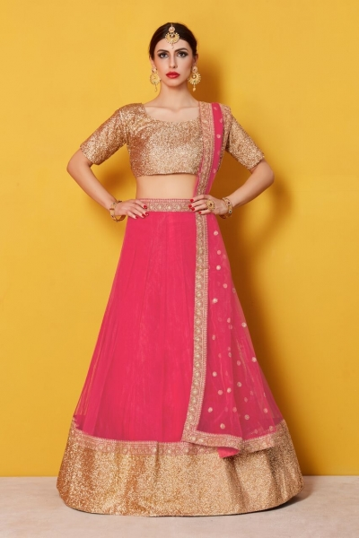 Cherry net and brocade Indian wedding wear lehenga choli 801